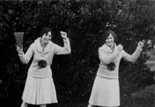 Vintage photo of cheerleaders practising their routine