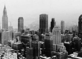 Vintage photo of Manhattan skyscrapers