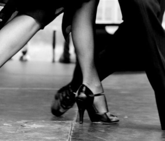 The legs of a man and a woman dancing the tango