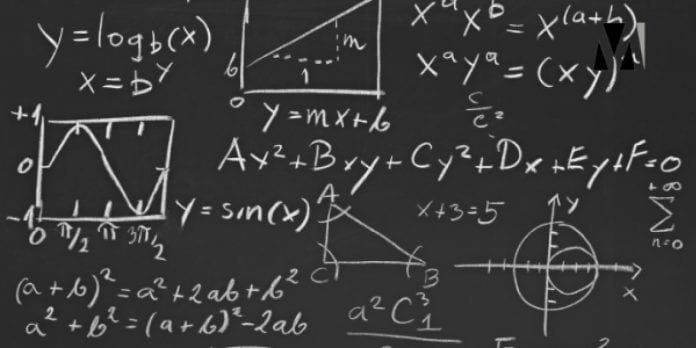 Blackboard covered with mathematical formulas
